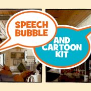 speech bubble cartoon kit double box logo