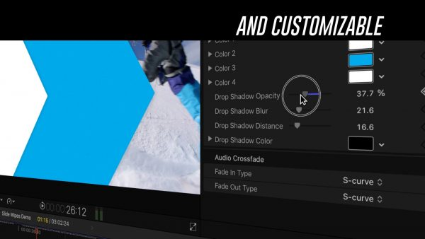 Customizable transition - Slide Wipes Final Cut Pro plugin